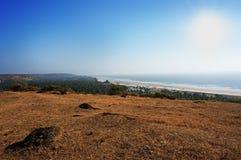 秀丽Arambol海滩风景 全景,顶视图 免版税图库摄影