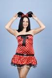 秀丽coustume鼠标性感的妇女 免版税图库摄影