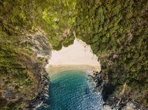 秀丽Xandrem海滩鸟瞰图风景, 免版税库存图片