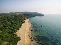 秀丽Xandrem海滩鸟瞰图风景, 库存照片