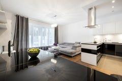 私人住宅的现代家庭娱乐室 免版税库存图片