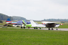 私人喷气式飞机停放 图库摄影