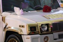 私有事件或婚礼的蒂米什瓦拉,罗马尼亚–cca 2012白色豪华汽车 免版税图库摄影