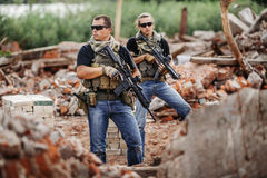 私有军事承包商在特别行动时 图库摄影