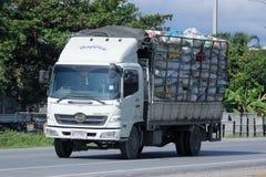 私有卡车为回收塑料 库存图片