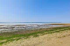 私有海滩有皮吉特湾视图, Burien, WA 库存照片