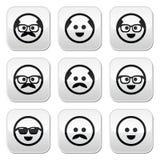 秃头人有髭的和玻璃被设置的面孔按钮的 库存图片