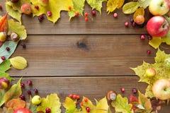 秋叶、果子和莓果框架在木头 免版税图库摄影