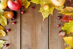 秋叶、果子和莓果框架在木头 库存照片