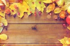 秋叶、果子和莓果框架在木头 免版税库存图片