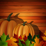 秋叶和两个南瓜在木纹理 库存例证