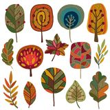 秋叶和树的传染媒介汇集 免版税库存图片
