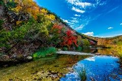 秋叶和清楚的小河美好的风景在失去的槭树国家公园,得克萨斯 免版税库存照片