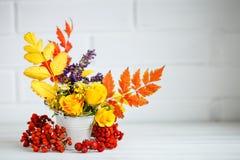 秋叶和花在一张木桌上 秋天背景复制空间 仍然秋天生活 免版税图库摄影