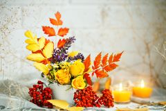 秋叶和花在一张木桌上 秋天背景复制空间 仍然秋天生活 库存图片