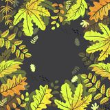 秋叶在黑背景的框架背景 向量例证