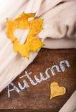 秋叶心脏 在木背景的秋叶 免版税库存照片