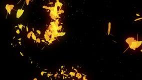 秋叶旋转  秋叶背景 CG银杏树五彩纸屑动画 : E 皇族释放例证
