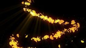 秋叶旋转  秋叶背景 CG银杏树五彩纸屑动画 : E 向量例证