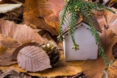 秋叶的一点模型房子地方 库存图片