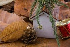秋叶的一点模型房子地方 免版税图库摄影