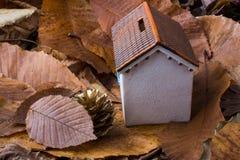 秋叶的一点模型房子地方 免版税库存照片