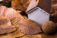 秋叶的一点模型房子地方 免版税库存图片
