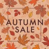 秋叶红色销售额字 与秋叶的增进海报 叶子的秋天 向量例证