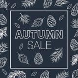 秋叶红色销售额字 秋叶画与在黑黑板的白垩 叶子的秋天 库存照片