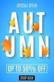 秋叶红色销售额字 给季节性横幅做广告 2007个看板卡招呼的新年好 9个秋天颜色 2007个看板卡招呼的新年好 与线的样式的蓝色背景 Vecto 向量例证