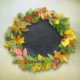 秋叶花圈在木背景的 免版税图库摄影