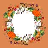 秋叶花圈  不同颜色叶子印刷品  叶子,蘑菇,莓果,南瓜时髦的秋天花圈  皇族释放例证