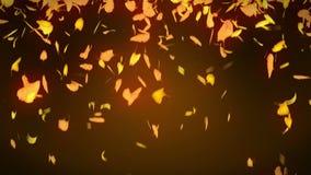 秋叶落 秋天叶子五彩纸屑 CG银杏树圈动画 美好的秋季橙色背景 库存例证