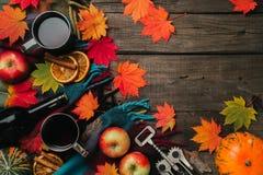 秋叶,两个杯子酒,与格子花呢披肩的红色苹果在老葡萄酒木背景 免版税库存图片