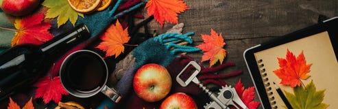 秋叶,两个杯子酒,与格子花呢披肩的红色苹果在老葡萄酒木背景 免版税库存照片