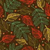 秋叶 无缝的模式 秋天背景特写镜头上色常春藤叶子橙红 凹道现有量纸张水彩 皇族释放例证