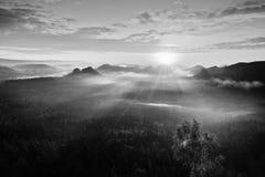 秋天一座美丽的山的日出全景在反向内 从重的fogg增加的小山峰顶  免版税库存照片