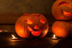 秋天万圣夜南瓜,假日10月 灯笼 免版税库存照片