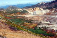 秋天上色破火山口 库存照片