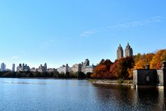 秋天下午在中央公园 库存照片