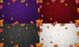秋天与五颜六色的叶子、橡子和berrys的传染媒介背景 向量例证