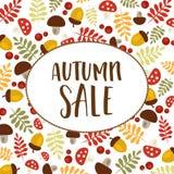秋天与五颜六色的叶子的销售图表 向量例证