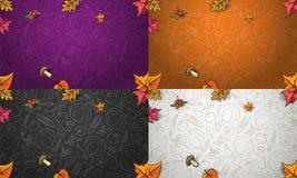 秋天与五颜六色的蔬菜、水果和叶子的传染媒介背景 库存例证