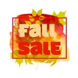 秋天与五颜六色的水彩叶子的销售海报 也corel凹道例证向量 库存照片