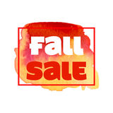 秋天与五颜六色的水彩叶子的销售海报 也corel凹道例证向量 免版税库存照片