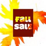 秋天与五颜六色的水彩叶子的销售海报 也corel凹道例证向量 免版税图库摄影