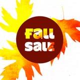 秋天与五颜六色的水彩叶子的销售海报 也corel凹道例证向量 免版税库存图片