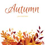 秋天与叶子的贺卡 设计要素例证离开向量 免版税库存图片