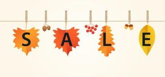 秋天与叶子的销售横幅在绳索 秋天结构的红色,桔子和黄色叶子、橡子、荚莲属的植物和杉木锥体 免版税库存图片