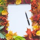 秋天与槭树叶子的题材背景,空的空白和笔为写道 免版税库存照片